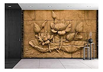 wall26 - a Stone Inscription of a Flower Thai Style of Buddhism - Removable Wall Mural   Self-Adhesive Large Wallpaper - 100x144 inches