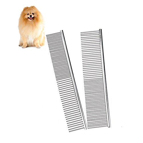 EZAGE Haustierkamm aus Metall für Hunde und Katzen, Edelstahl-Pudelbürste, Trimmer, Flohhaarentfernung, Fellreinigung mit verschiedenen Abständen, abgerundeten Zähnen, 20,3 cm, 2 Stück