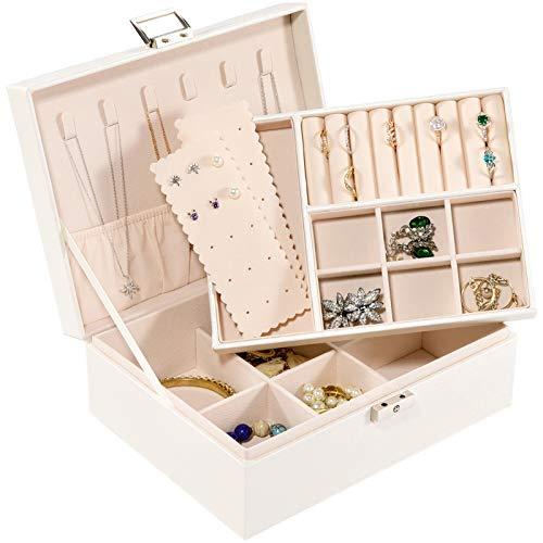 Allinside Caja Joyero, Caja para Joyas, 2 Niveles Organizador de Joyería con Cerradura para Mujeres Niñas, Cuero PU, Forro de Terciopelo, Blanca