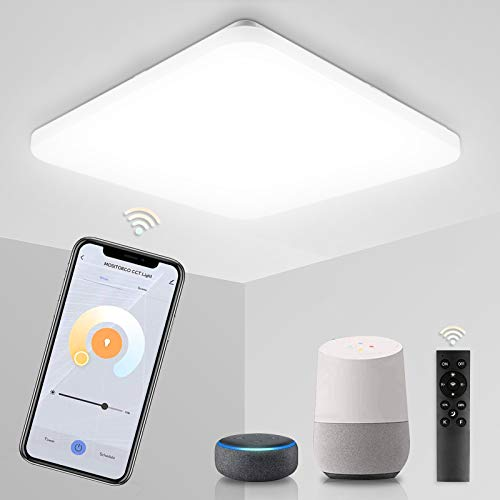 Hengda Lámpara de techo LED inteligente de Alexa, 36 W, regulable, con mando a distancia, compatible con Alexa Google Home, color de luz ajustable, lámpara para salón, dormitorio, cocina