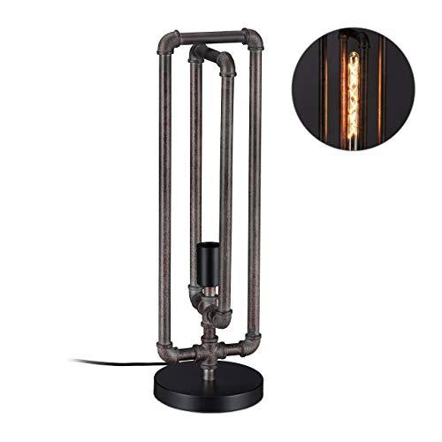 Relaxdays waterpijp tafellamp, industriële stijl, vintage buislamp, E27, HxD: 60x18 cm, tafellamp Loft, grijs-bruin, metaal, kunststof