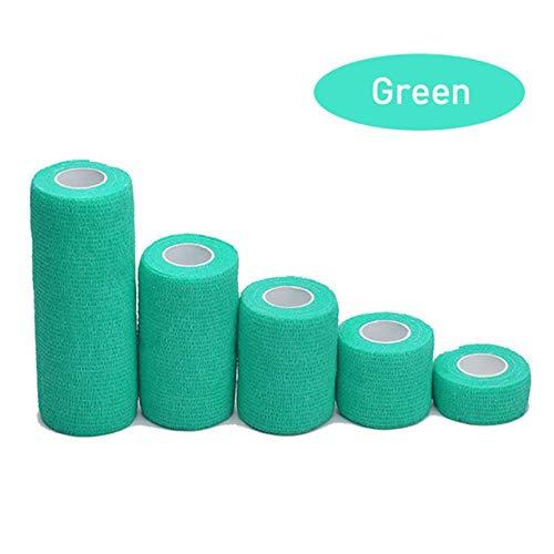 LLine 1 Rolls EHBO Zelfklevend Cohesief Verbanden Sporttape voor Pols Enkelverstuikingen & Zwelling Breedte Regenboogkleuren, Groen, 15 cm x 4,5 m
