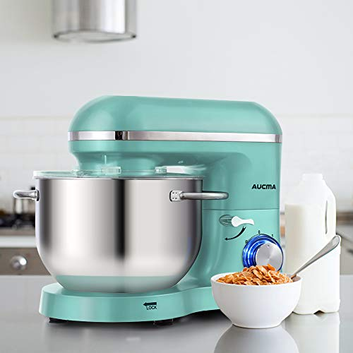 Aucma Küchenmaschine 1400W mit 6,2L Edelstahl-Rühlschüssel, Rührbesen, Knethaken, Schlagbesen und Spritzschutz, 6 Geschwindigkeit Geräuschlos Teigmaschine, Blau - 8