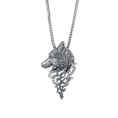Wolf Head Shape Alloy Pendant Fashion Jewelry Gift Necklace, Necklaces & Pendants, Jewelry & Watches (Sliver)