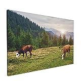 PATINISA Vacas pastando en un prado cerca de las montañas en el verano Painting Cuadro sobre Lienzo Canvas Wall Art para Colgar Impresión de la Lona 45x30cm