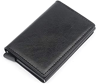 Sum-of-Best Mad Cow Leather+Aluminium RFID Credit Card Holder Automatic Pop up Wallet Ultrathin Metal Card Case for Men and Women Up to Holds 8 cards+ Cash (Black)