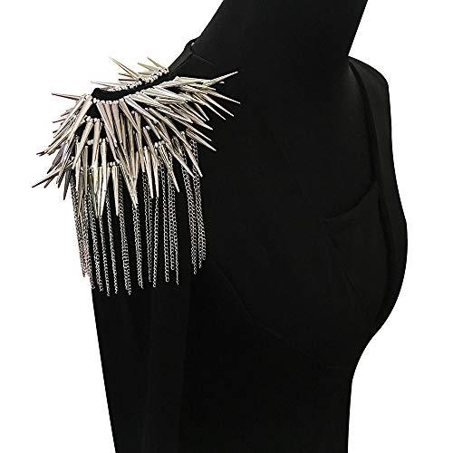 EMDOMO Parches de hombro con cuentas de Rock Punk con motivos de flecos para traje, escenario, ropa, broches de hombro, 2 piezas