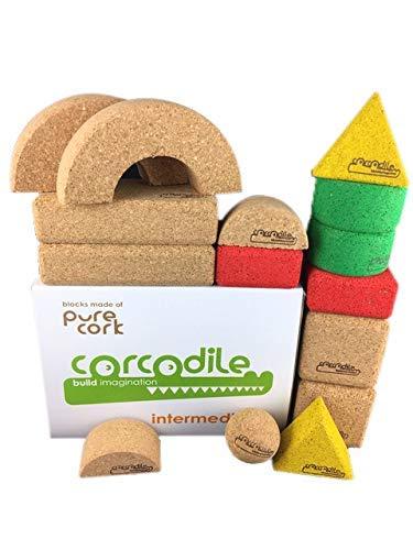 Corcodile Bloques de construcción de Corcho sin plástico para niños a Partir de 1 año (Juego de 15 Piezas)