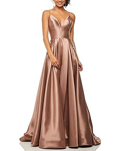 Roiii Damen Teilt Schulterfrei Rückenlos Formelle Lange Abendparty Kleid Prom Ballkleid Brautjungfernkleider Größe 36-50 (42(Tag L),Kaffee)