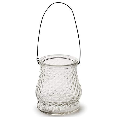 6 x Windlichter mit hübscher Glasmusterung und Henkel - Windlicht - Dekovase - Glasvase - Teelichthalter Farbe Aspen