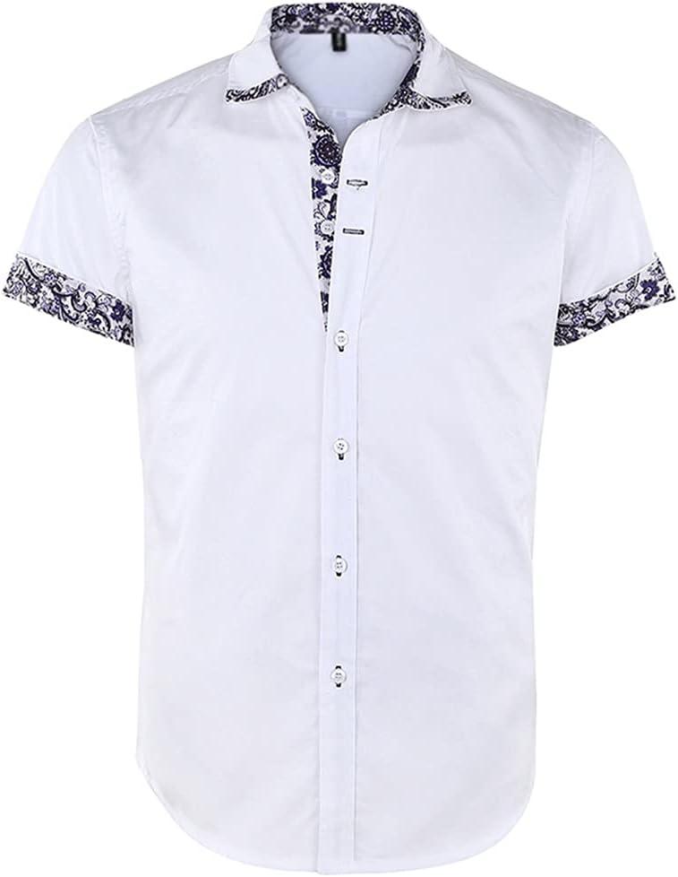 SPNEC Men's Short Sleeve Floral Print Patchwork Button Down Casual Shirts Solid Work Slim Fit Shirt Plus Size Mens Clothes (Color : White, Size : M Code)