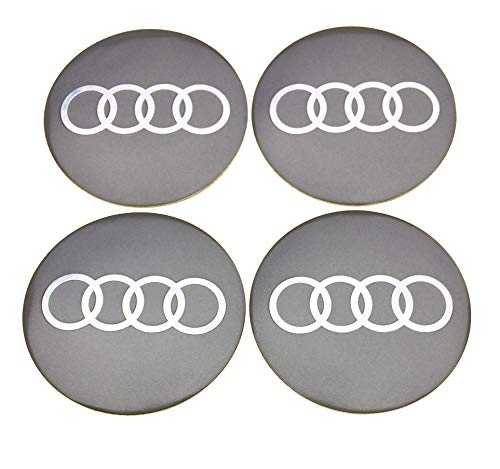 4 Rad mitte kappen aufkleber 65 mm AUDIembleme gewölbt logo selbstklebendes silber nabendeckel felgendeckel