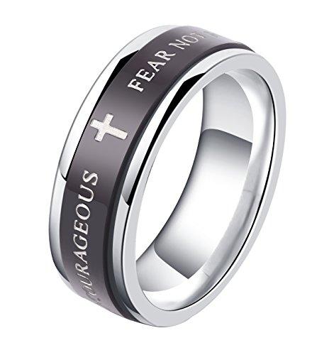 alextina 7mm negro acero inoxidable Biblia versos isaías 41: 10Joshua 1: 9Cristiano Anillo Spinner boda banda (talla 7-11)