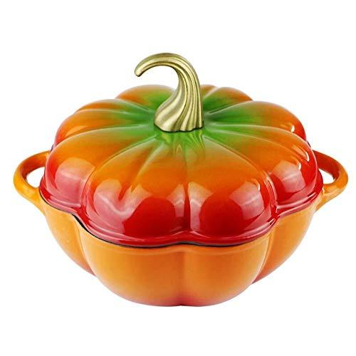 RYYAIYL Cast Iron Pot, Pumpkin Shape Enamel Casserole Dish With Lid Ceramic Health Soup Pot Stew Pot Uncoated Non-Stick Pan (Color : Green)
