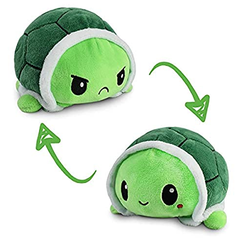 TeeTurtle   The Original Reversible Turtle Plushie   Patented Design   Sensory Fidget Toy for Stress Relief   Green   Happy + Angry   Show Your Mood Without Saying a Word!