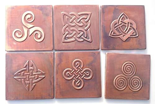 Celtic design tiles, SET OF 9, one tile size 5.9''X5.9'' backsplash metal tiles. Brass Copper Nickel