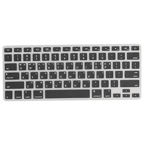 Gazechimp Silikon Fall EnglishKoreanisch Tastatur Abdeckung Schutzhulle fur Macbook Pro 1315 Schwarz