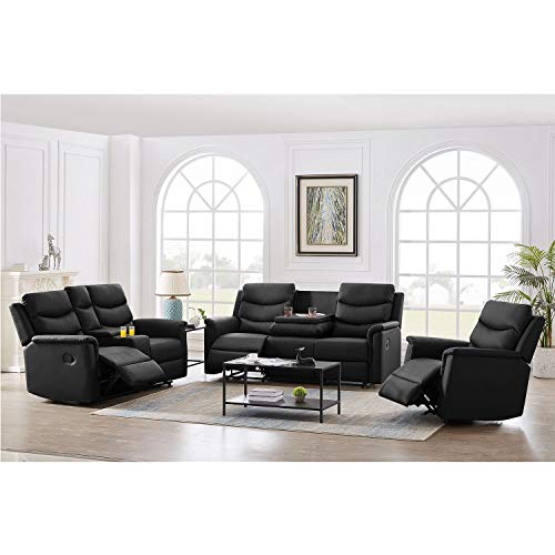 FREESNOOZE 3 Pieces PU Leather Manual Recliner Living Room Sets with Cup Holders, Home Furniture Set Include Chair, 2-Seat, and 3-Seat Recliner Sofa