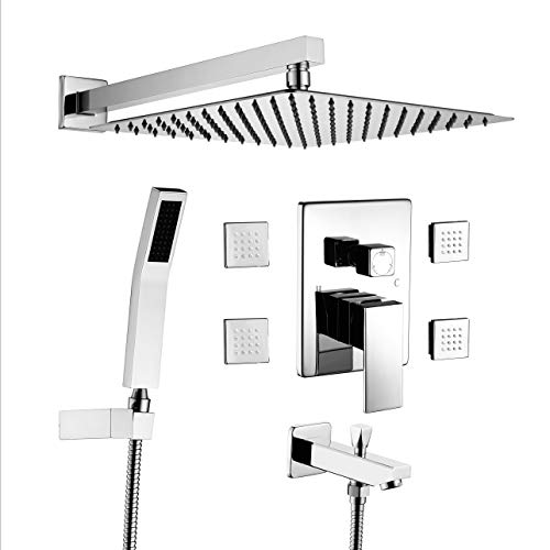 Acefy ATF18006 Shower Systems with Body Sprays and Tub Spout, 12' Rain Showerhead and Hand Combo...