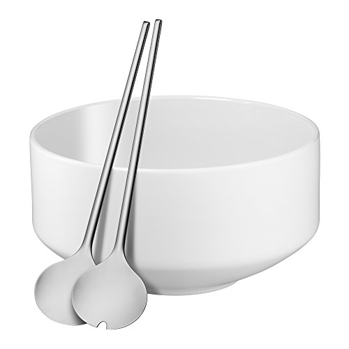 WMF Moto Salatschüssel Set, 3-teilig, Salatschale, Ø 26 cm, mit Salatbesteck, Porzellan, Cromargan Edelstahl poliert, spülmaschinengeeignet Flower White Satin, weiß