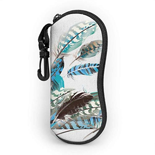 Funda Rígida Gafas de Sol Piel animal de plumas voladoras Almacenaje Lente Suave Sunglasses Case con Clip de Cinturón para Gafas, Bolsa de Llaves, Lápices, Tarjetas