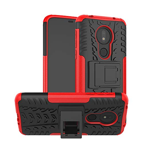 Moto G7 Power ケース Motorola モト Moto G7 Power ケース 背面カバー 人気 Pelanty 横置きスタンド機能 TPU&PC 二重構造 バンパーケース スマホケース 全面保護 携帯電話カバー 便利 実用 耐衝撃 [8 色選択] レッド