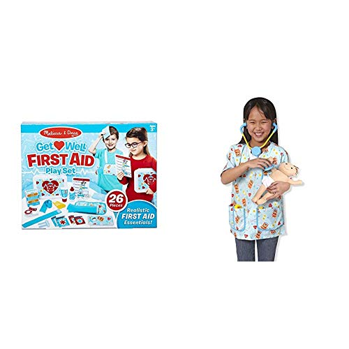 Melissa & Doug Get Well First Aid Kit Play Set (25 Pieces) & Pediatric Nurse Role Play Costume Set (8 pcs) - Includes Baby Doll, Stethoscope