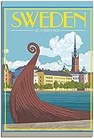 スウェーデンストックホルムヴィンテージ旅行ポスター装飾絵画ポスター現代オフィス家族キャンバスアートポスター写真寝室装飾ギフトポスター 40x60cm x1 フレームレス