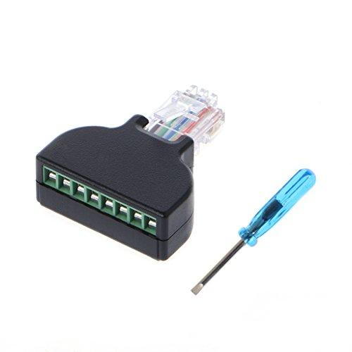 Fivekim RJ45 Ethernet macho a 8 pines AV terminal tornillo adaptador convertidor bloque toma CCTV