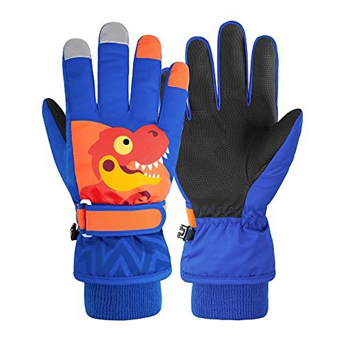 Kids Waterproof Winter Gloves Warm Snow Gloves Boys Girls Ski Gloves Toddler Mittens Windproof Royal Blue Dinosaur S
