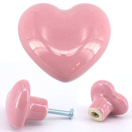 8 pomelli in ceramica per armadietti da cucina, decorazione per camera dei bambini, maniglie per cassetti e armadietti, a forma di cuore rosa