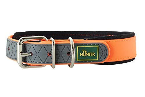 HUNTER CONVENIENCE COMFORT Hundehalsband, Kunststoff, Neopren, wasserfest, schmutzabweisend, gepolstert, 50 (M), neonorange