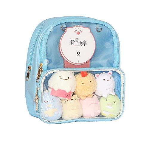 Patty Both Clear Backpack Transparent Ita Bag For Anime Lolita Bag DIY Cosplay (Ita Bag, Blue)