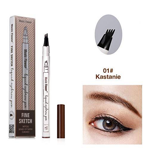 Augenbrauenstift Wasserfest - Waterproof Microblading Pen mit Tips Wasserfester Langenhaltend für Natürlich Augenbrauen Schminke (Kastanienbraun)
