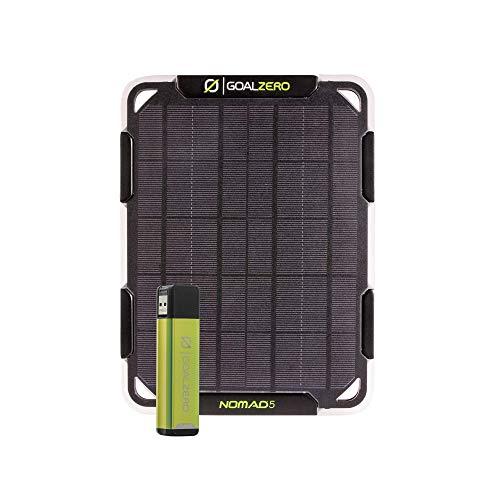 Goal Zero Flip 12 Solar-Lade-Set mit Nomad 5 Solarpanel, minimales Gewicht Powerbank und Solarpanel in einem praktischen Set, hält Handys und andere kleine USB-betriebene Geräte überall aufgeladen