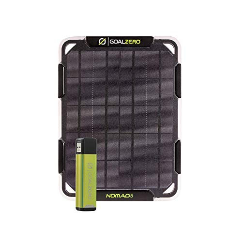 Goal Zero Nomad 5 Watt Solar Panel with Flip 12 (3,350 mAh) Power Bank, Portable Solar Kit