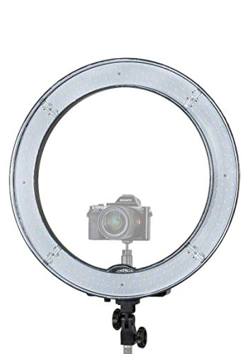 """Prismatic 18"""" Halo Ring Light LED Dimmable 55W 5500K, Ballhead Mount for Camera, Carry Case, Diffusion Plates"""