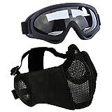 Aoutacc Kit de protection Airsoft avec demi-masque en maille avec protection des oreilles et lunettes  - Pour CS/Chasse/Paintball/Tir,...
