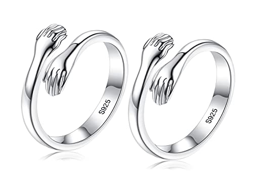 Anillo de abrazo, de plata de ley 925, anillos de abrazo abiertos ajustables, anillo de plata cálido para mujeres, hombres, parejas, regalo de boda, regalos de cumpleaños de Navidad