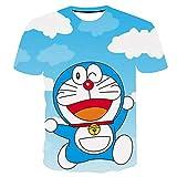 Camisetas,Anime Cartoon Doraemon Impresión 3D Ropa De Manga Corta para Hombres Top Camiseta Loose Soft Unisex Azul 3XL