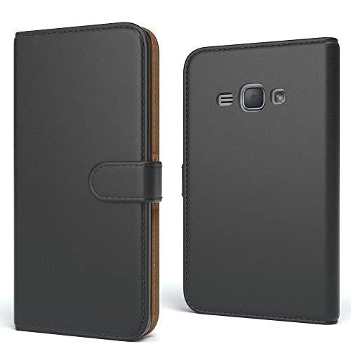 EAZY CASE Tasche für Samsung Galaxy J1 (2016) Schutzhülle mit Standfunktion Klapphülle im Bookstyle, Handytasche Handyhülle Flip Cover mit Magnetverschluss & Kartenfach, Kunstleder, Schwarz
