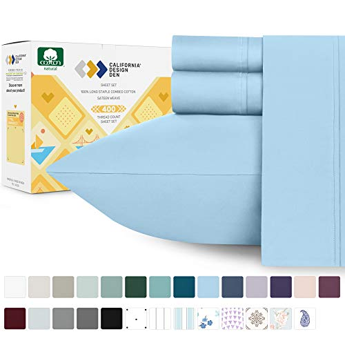 California Design Den 400 Thread Count 100% Cotton Sheet Set, Sky Blue Twin Sheets 3 Piece Set for Kids and Adult, Long-Staple Combed Pure Natural Cotton Bedsheets, Soft \u0026amp; Silky Sateen Weave