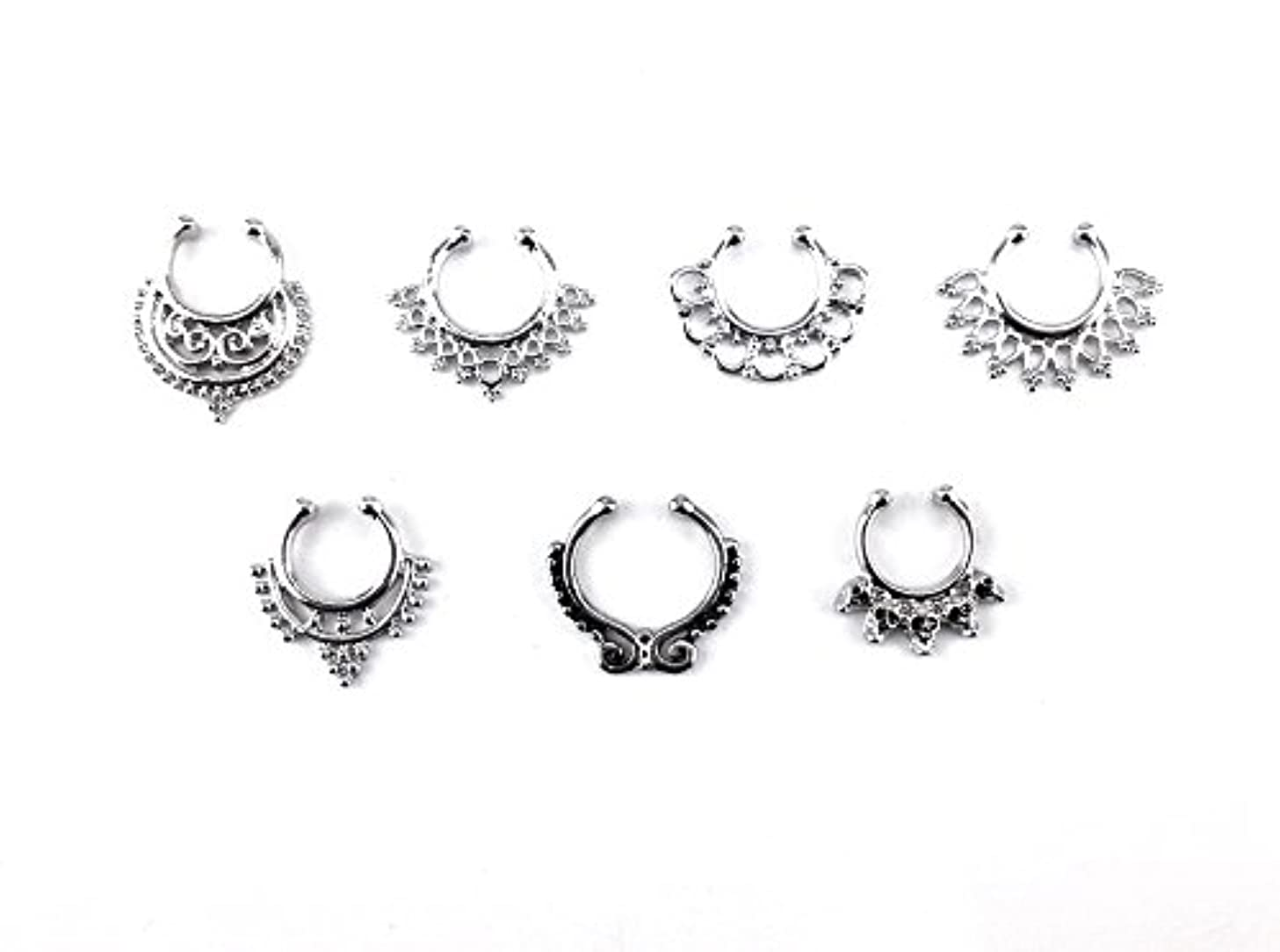 Honbay 7pcs Mix Style Silver Fake Septum Clicker Nose Ring Non Piercing Hanger Clip Body Jewelry