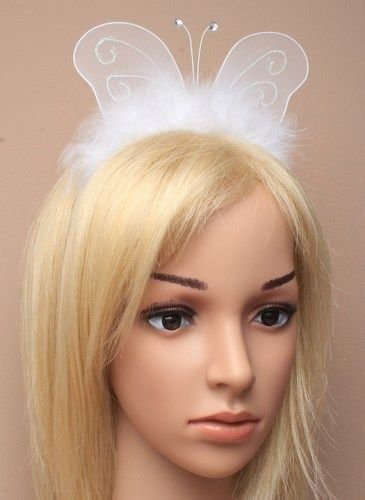 BUTTERFLY Wings White on Aliceband Hairband Hen Nights Fancy Dress Partys by Fashion Accessory