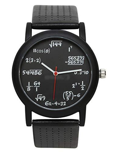 Equation Unisex Quartz Water Resistant Analog Black Strap Watch