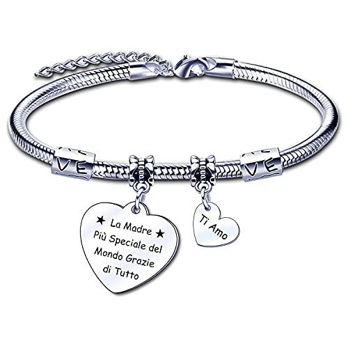Regalo pulsera madre de regalo pulsera mujer corazón colgante con grabado de hija regalos de cumpleaños madre madre día de la madre