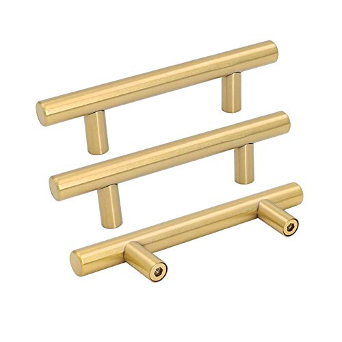 Goldenwarm 5pcs Brushed Brass Cabinet Pull 3in Hole