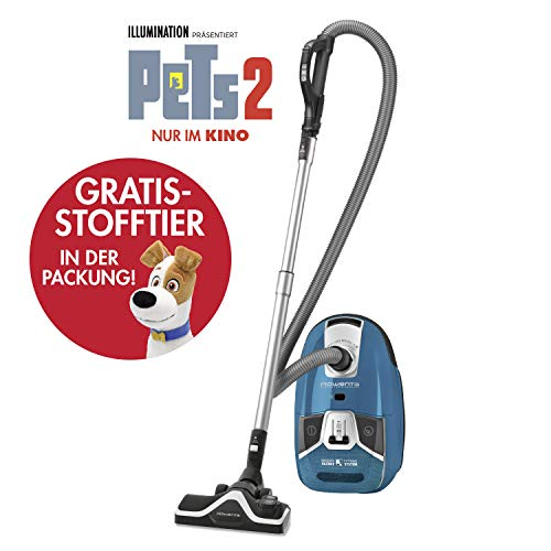 Rowenta RO6371EA Silence Force 4A+ Compact Home & Car - Aspiradora con Bolsa Parquet + Peluche Pets Azul