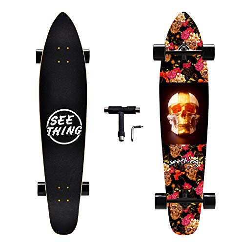 seething 42 Inch Longboard Skateboard Complete Cruiser,The Original Artisan Maple Skateboard Cruiser for Cruising, Carving, Free-Style and Downhill(Skull Heads)
