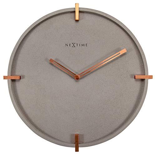 "NeXtime Designer Wanduhr Beton ""3515-Mohawk Wall"" Wanduhr, leises Uhrwerk, Kupferelemente, 32 cm"